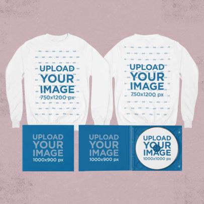 Merch Bundle Mockup of Two Sweatshirts and Digipaks 43425-r-el2