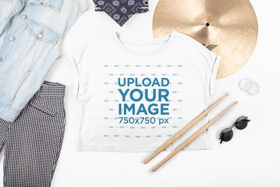 Crop Top Tee Mockup Featuring a Female Drummer's Outfit 43279
