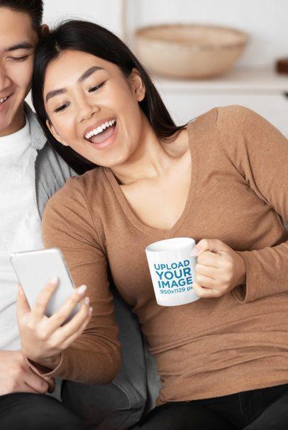 Mockup of a Happy Woman Holding an 11 oz Coffee Mug 43482-r-el2