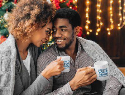 Mockup of a Romantic Couple Holding 11 oz Coffee Mugs 43484-r-el2