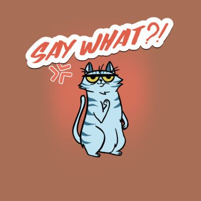 Funny Twitch Emote Logo Template of a Rude Cat 3674m
