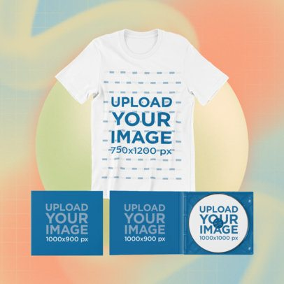 Merch Bundle Mockup of a Round Neck Tee and Two Digipaks 43744-r-el2