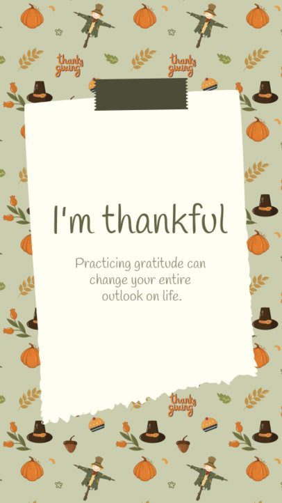 Instagram Story Design Creator Featuring a Thankful Quote for Thanksgiving 2947c-el1