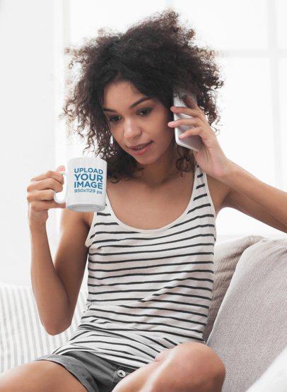 11 oz Coffee Mug Mockup Featuring a Worried Woman Talking on the Phone 43492-r-el2