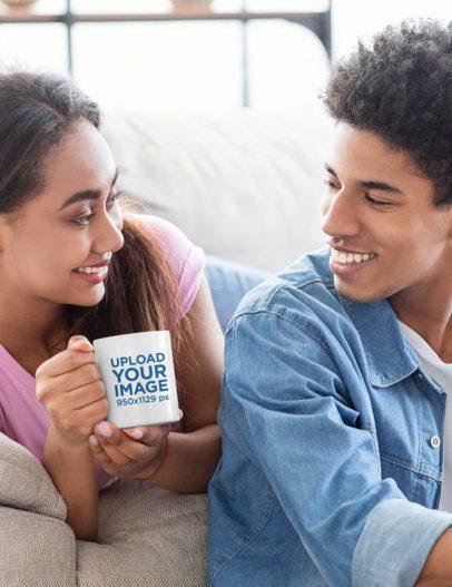 11 oz Coffee Mug Mockup of a Woman With Her Boyfriend 43590-r-el2