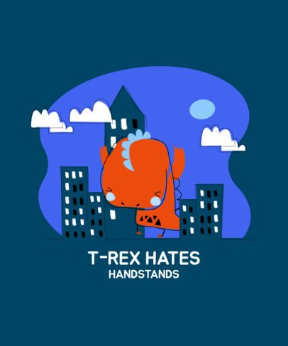 T-Shirt Design Template with a Cute T-Rex in the City 2967a-el1