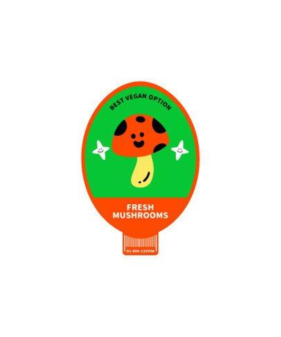 Vegan-Themed T-Shirt Design Creator with an Illustration of a Happy Mushroom 2956c-el1