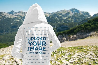 Travel Mockup Featuring a Man in the Mountains with a Hoodie 40104-r-el2
