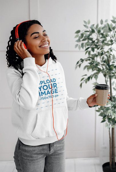 Pullover Hoodie Mockup of a Woman with Headphones and a Coffee 40806-r-el2