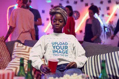 Sweatshirt Mockup of a Woman Chilling at a Party 43545-r-el2
