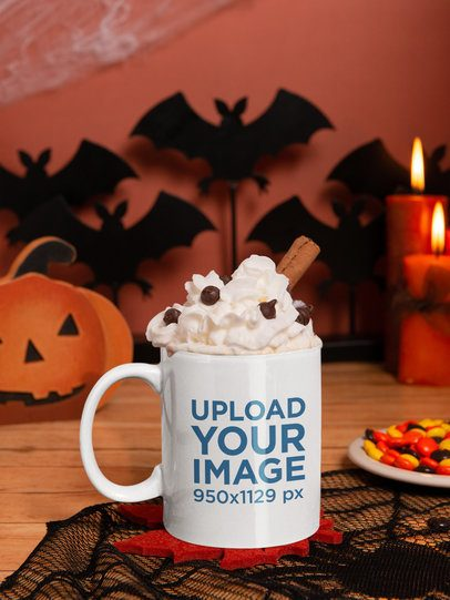 Halloween Mockup Featuring an 11 Oz Coffee Mug Placed by Spooky Decorations m122