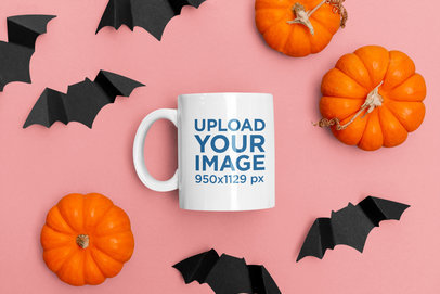 Halloween Mockup of an 11 oz Coffee Mug Surrounded by Pumping and Paper Bats m121