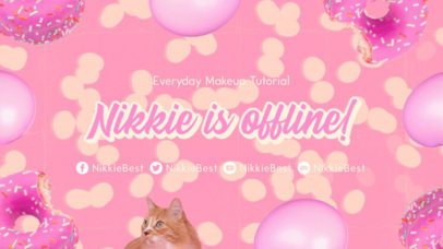 Twitch Offline Banner Template for a Makeup Channel Featuring 2000's Style Graphics 3023b