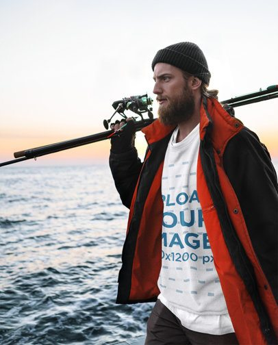 Mockup of a Fisherman Wearing a Sweatshirt with the Sea in the Background 35492-r-el2