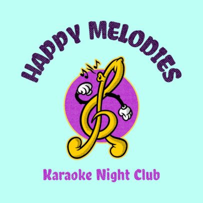 Karaoke Club Logo Generator Featuring a G-Clef Cartoon 3735k