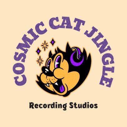Online Logo Maker for a Recording Studio Featuring a Cat Cartoon 3735l