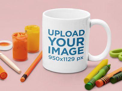 11 oz Mug Mockup Featuring Some Crayons 43579-r-el2
