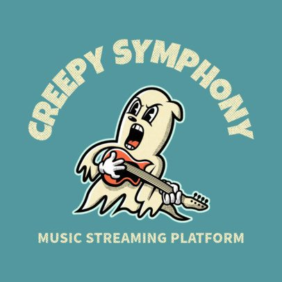 Music Streaming Platform Logo Template with a Rock'n'Roll Ghost 3735h
