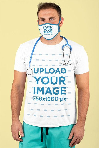 T-Shirt Mockup Featuring a Male Nurse Wearing a Sublimated Face Mask at a Studio m210