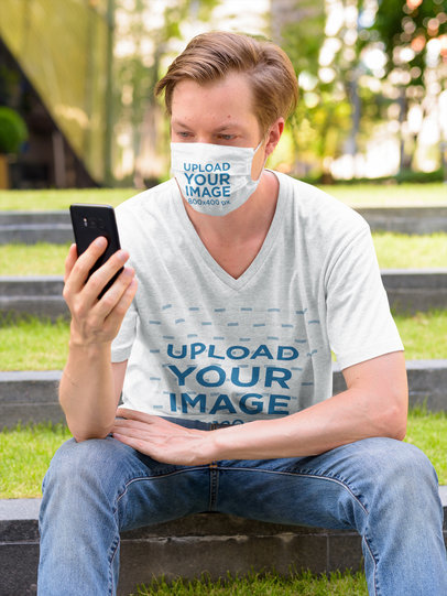 Mockup of a Man Wearing a V-Neck T-Shirt and a Face Mask 43787-r-el2