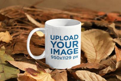 11 oz Mug Mockup Featuring a Fall Environment m136