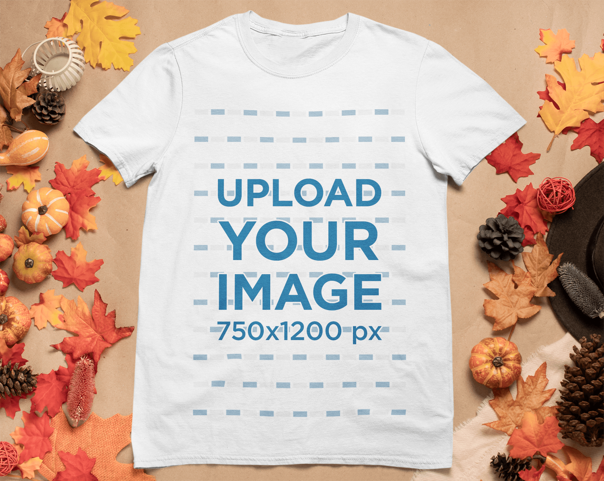 Mockup of a T-Shirt Surrounded by Autumn Ornaments m51