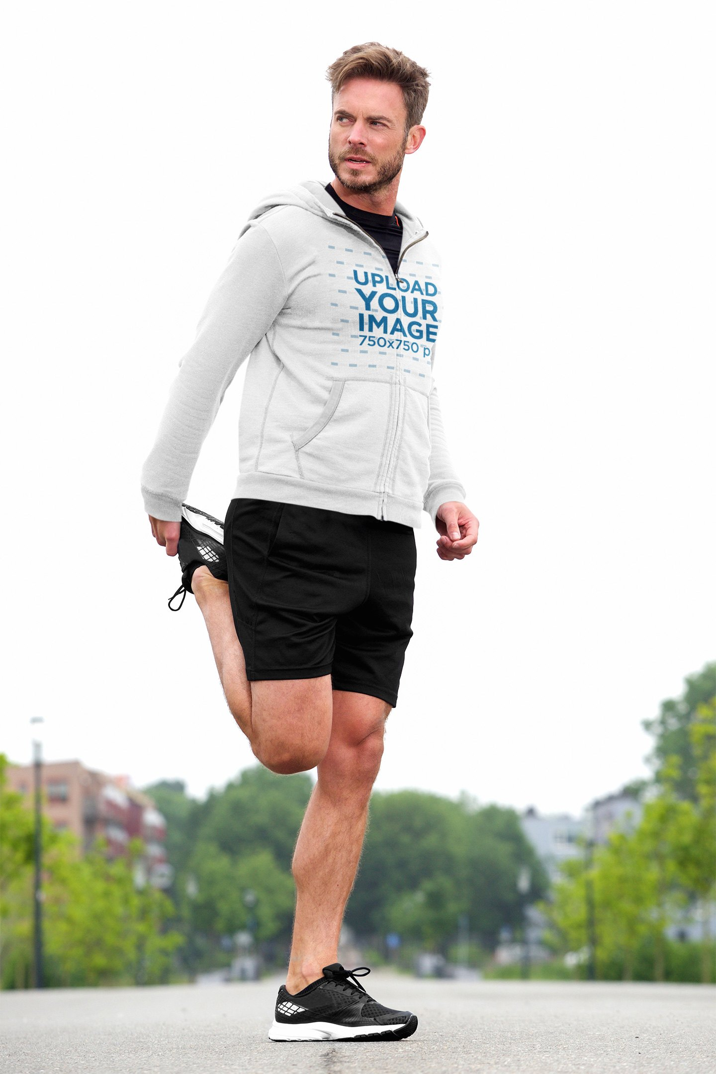 Hoodie Mockup of a Bearded Man Stretching Before a Run 39999-r-el2