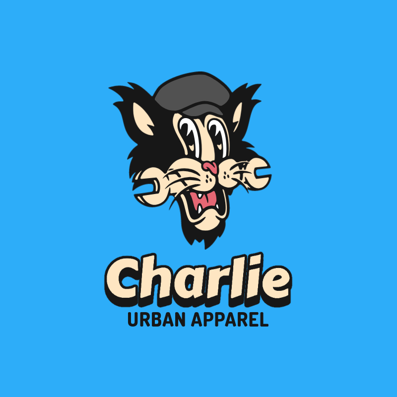 Urban Apparel Logo Creator with an Engineer Cartoon Cat Graphic 3047a-el1