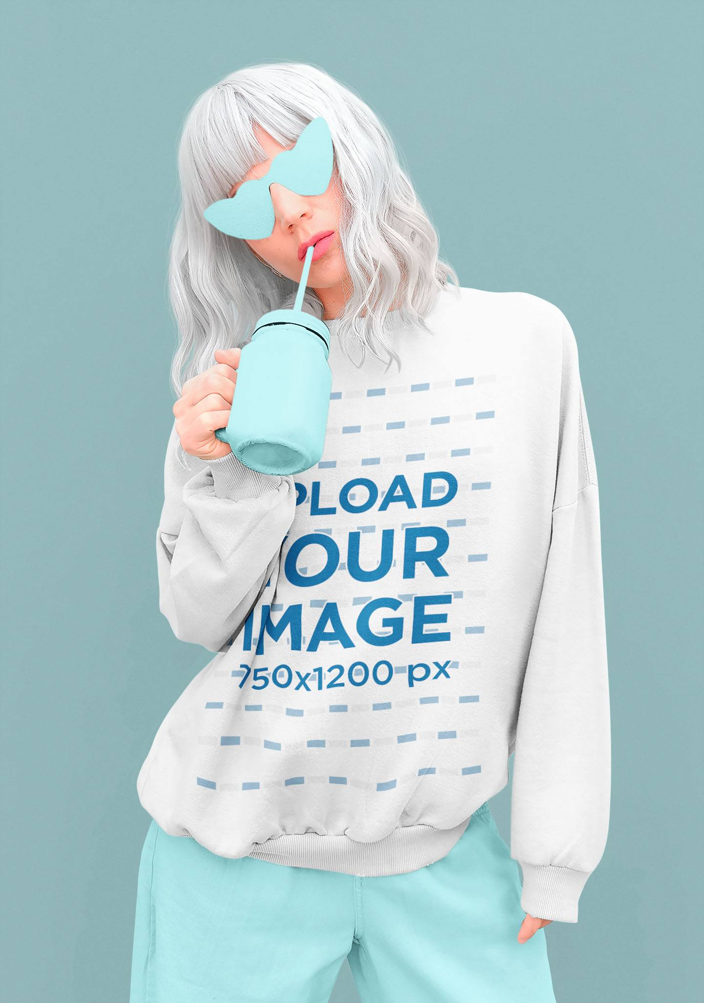 Monochromatic Mockup of a Platinum-Haired Woman Wearing a Sweatshirt 40236-r-el2