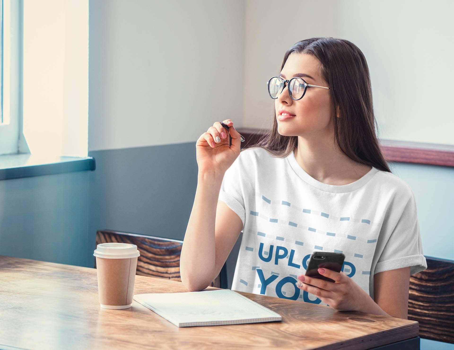 T-Shirt Mockup of a Woman Taking Notes at a Restaurant 36289-r-el2
