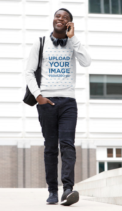 Mockup of a Man with a Heathered Sweatshirt Walking and Talking on the Phone 43855-r-el2