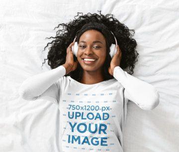 Long Sleeve Tee Mockup of a Happy Woman Listening to Music 39198-r-el2