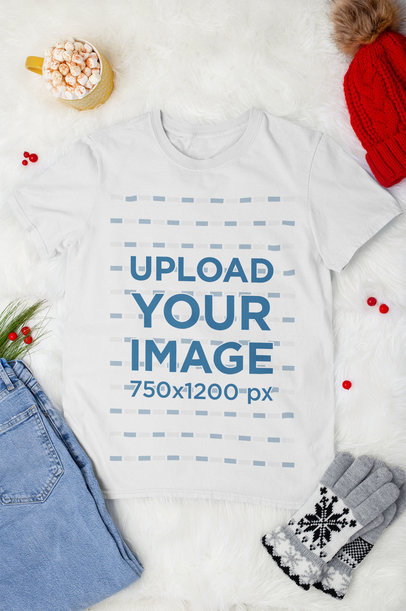 Mockup of a Flat Laid Tee Surrounded by Winter Decorations m166