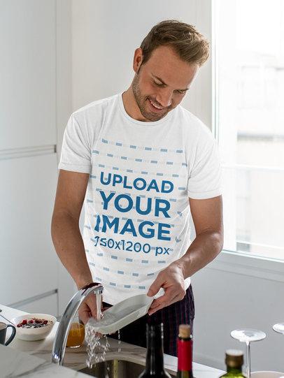 T-Shirt Mockup of a Man Washing the Dishes 35259-r-el2