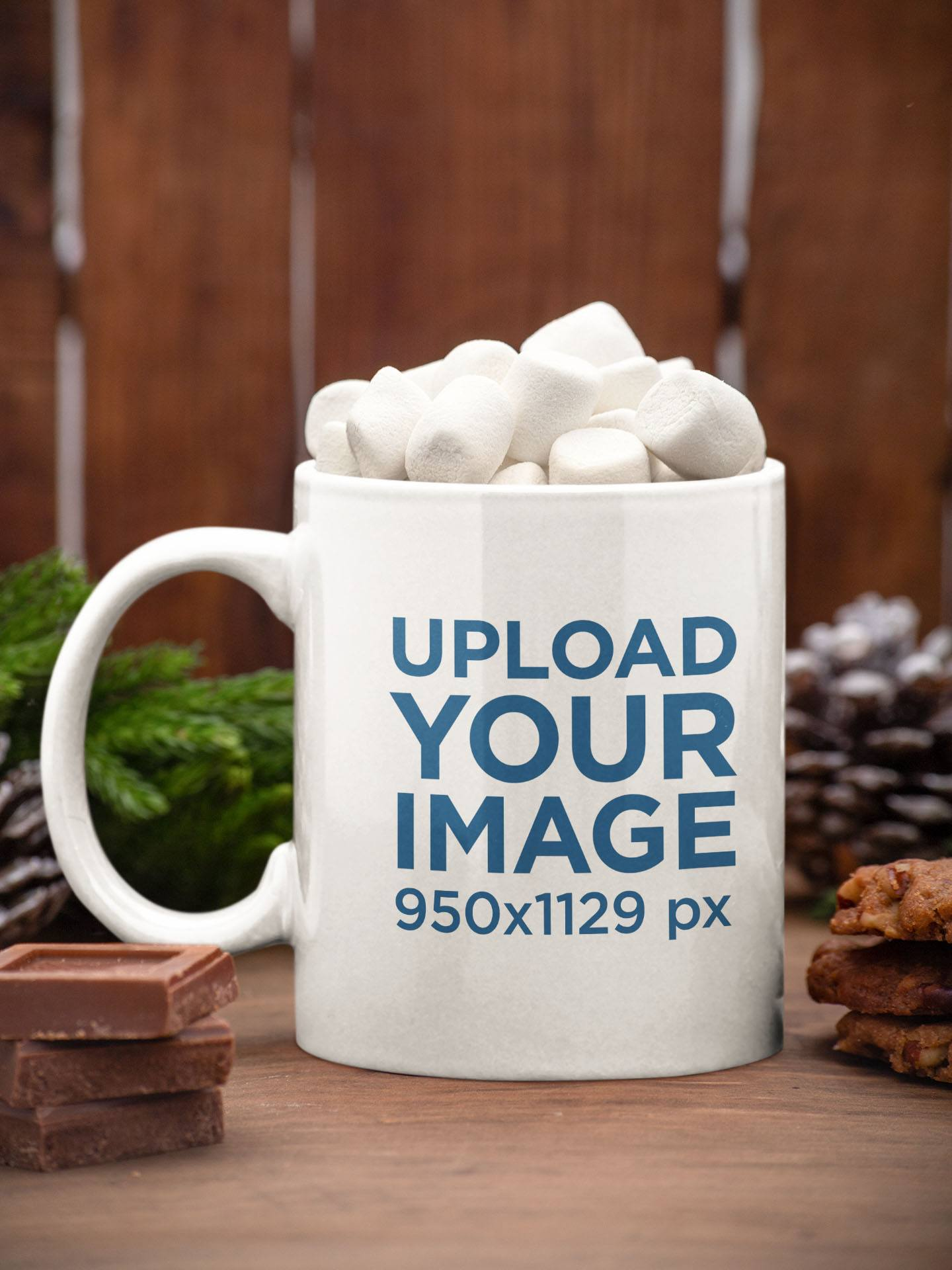 Mockup of an 11 oz Coffee Mug Filled with Marshmallows m158
