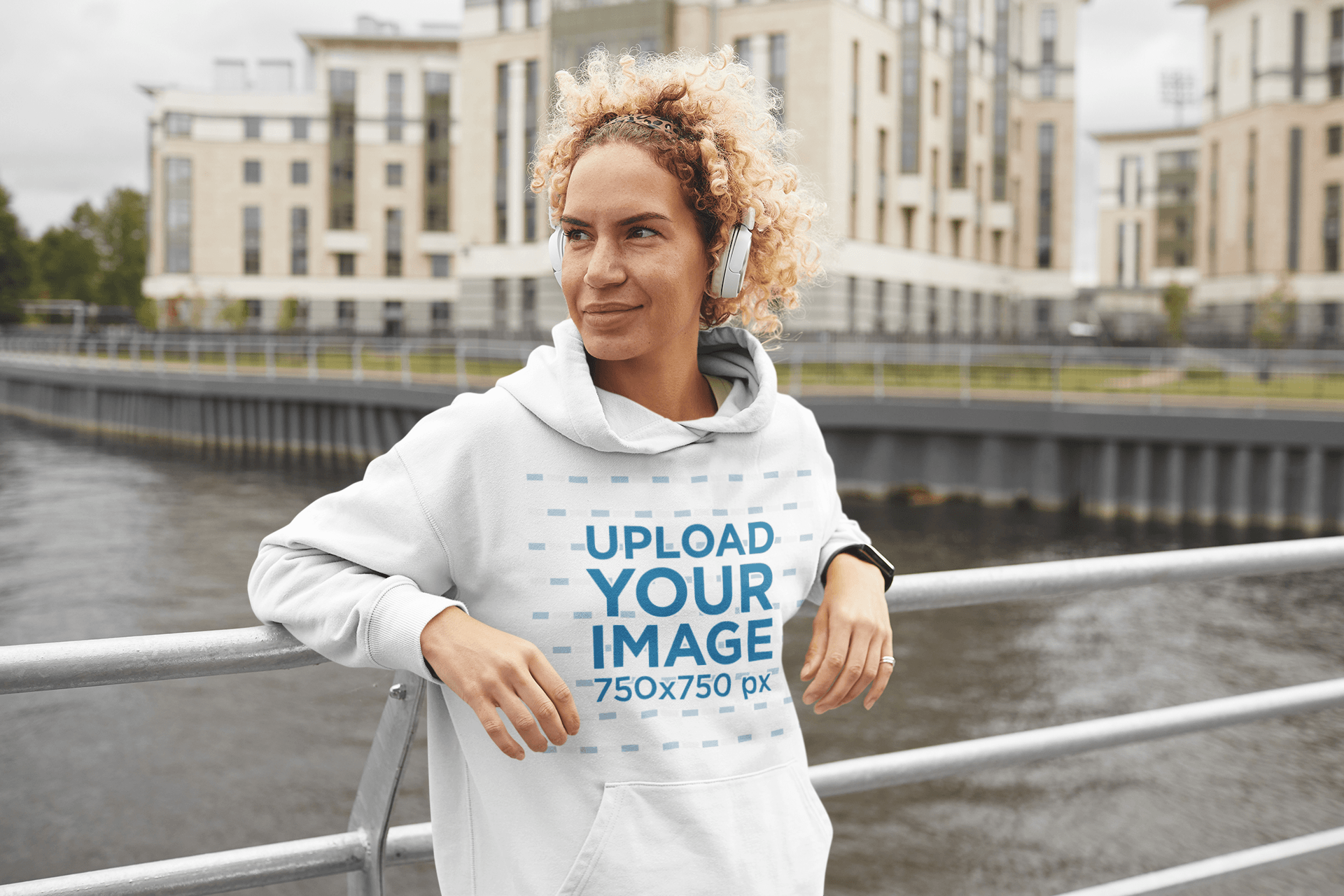 Hoodie Mockup of a Woman Standing Over a River in a City 43832-r-el2