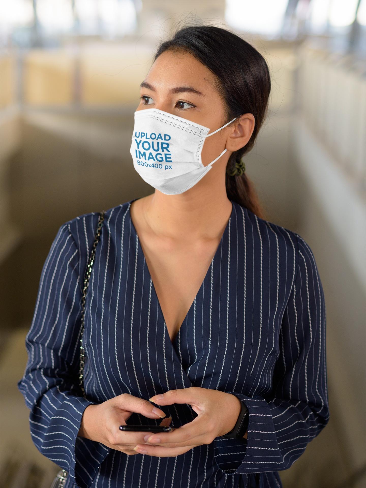 Face Mask Mockup of an Elegant Woman 44033-r-el2
