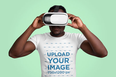 T-Shirt Mockup of a Man Wearing a VR Headset at a Studio 40431-r-el2