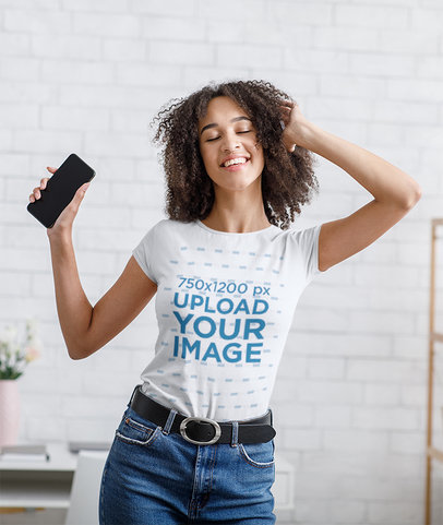 Mockup of a Woman with a Round Neck Tee Dancing at Home 44295-r-el2