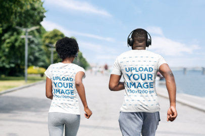 T-Shirt Mockup of a Fit Couple Running Together 35065-r-el2