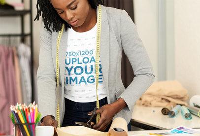 T-Shirt Mockup Featuring a Fashion Designer Working 44070-r-el2