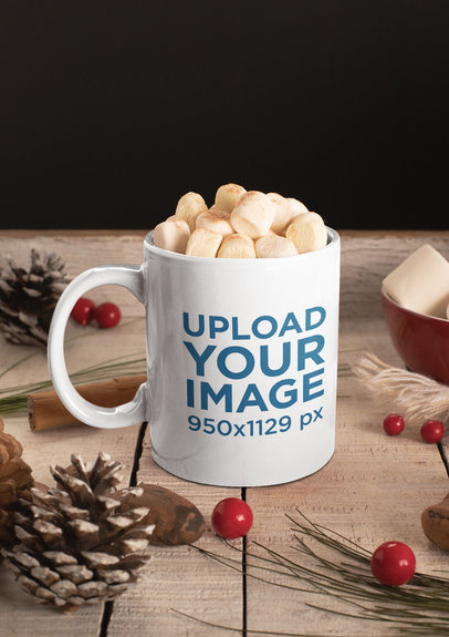 Christmas Mockup Featuring an 11 oz Mug with Hot Cocoa and Marshmallows m163