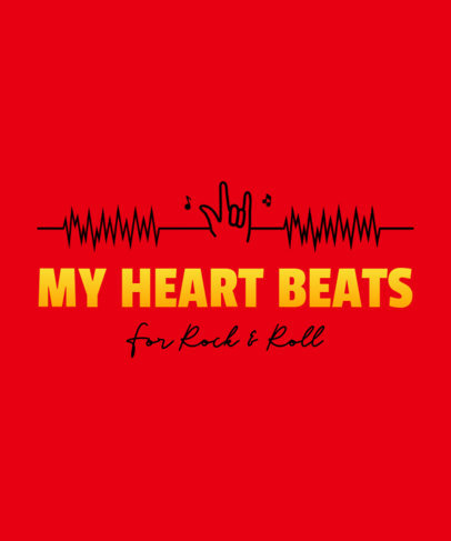T-Shirt Design Creator with an EKG Rock'n'Roll Hand Sign 3076c