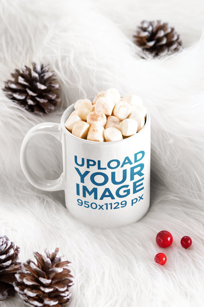 Mockup of an 11 oz Mug Filled with Marshmallows on a Soft Fabric m171