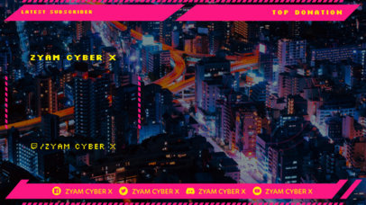 Twitch Overlay Maker for a Gaming Channel with a Cyberpunk 2077-Inspired Scenario 3059g