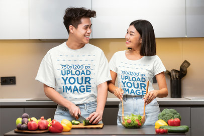 T-Shirt Mockup of a Couple Making an All-Vegetable Salad 44057-r-el2