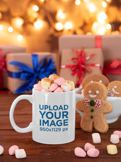 11 oz Coffee Mug Mockup Featuring a Christmas-Decorated Setting m45