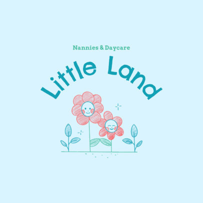 Daycare Logo Creator Featuring Hand-Drawn Flowers 3763a