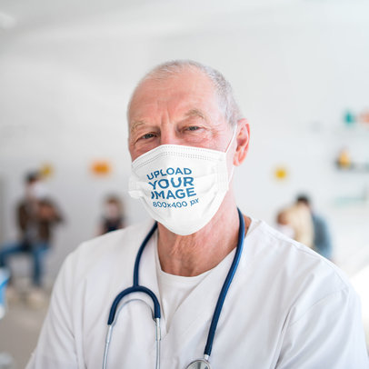 Mockup Featuring a Senior Doctor Wearing a Face Mask 44278-r-el2