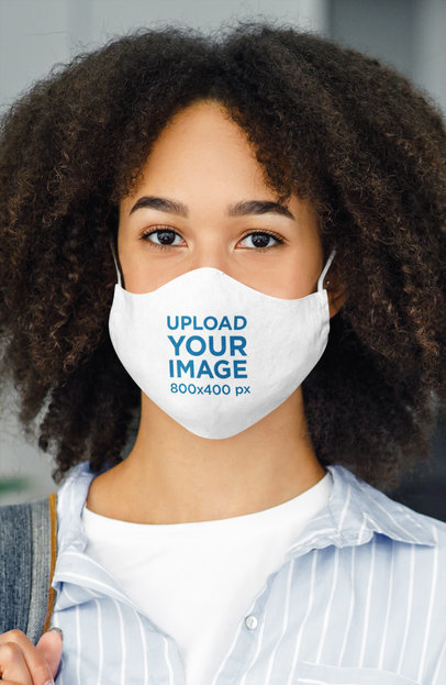 Mockup of a Young Woman Wearing a Face Mask at Work 44058-r-el2